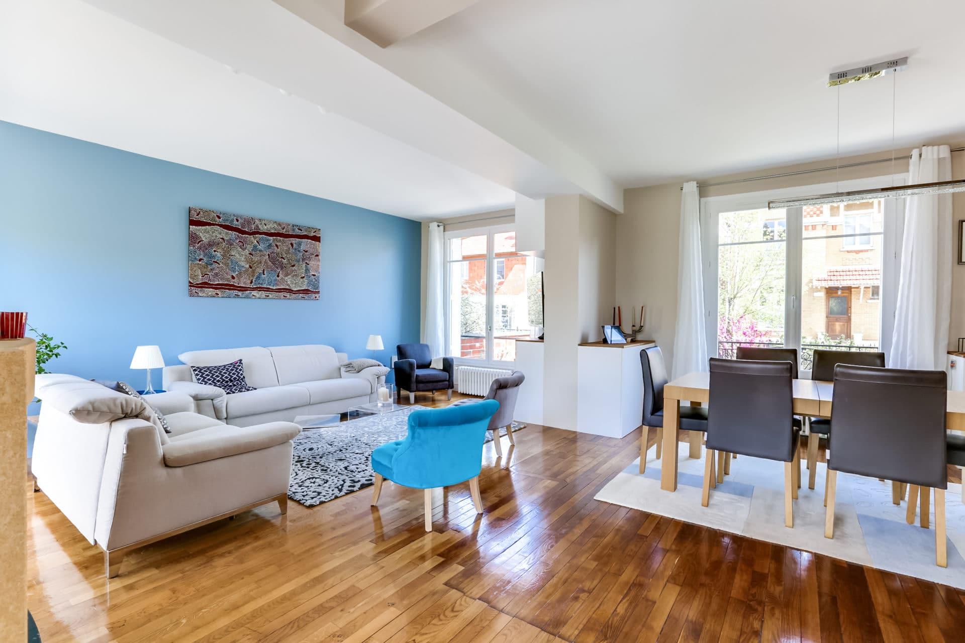 Salon, salle à manger & cuisine | maisons-laffitte (78)