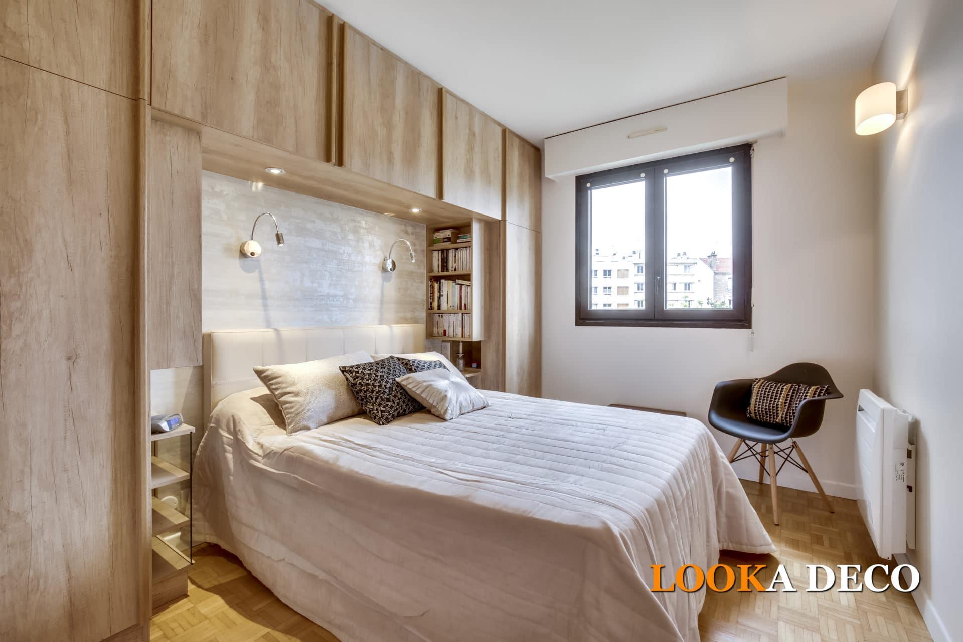 Chambre parentale aux rangements optimisés et atmosphère douce La Garenne-Colombes (Hauts-de-Seine)