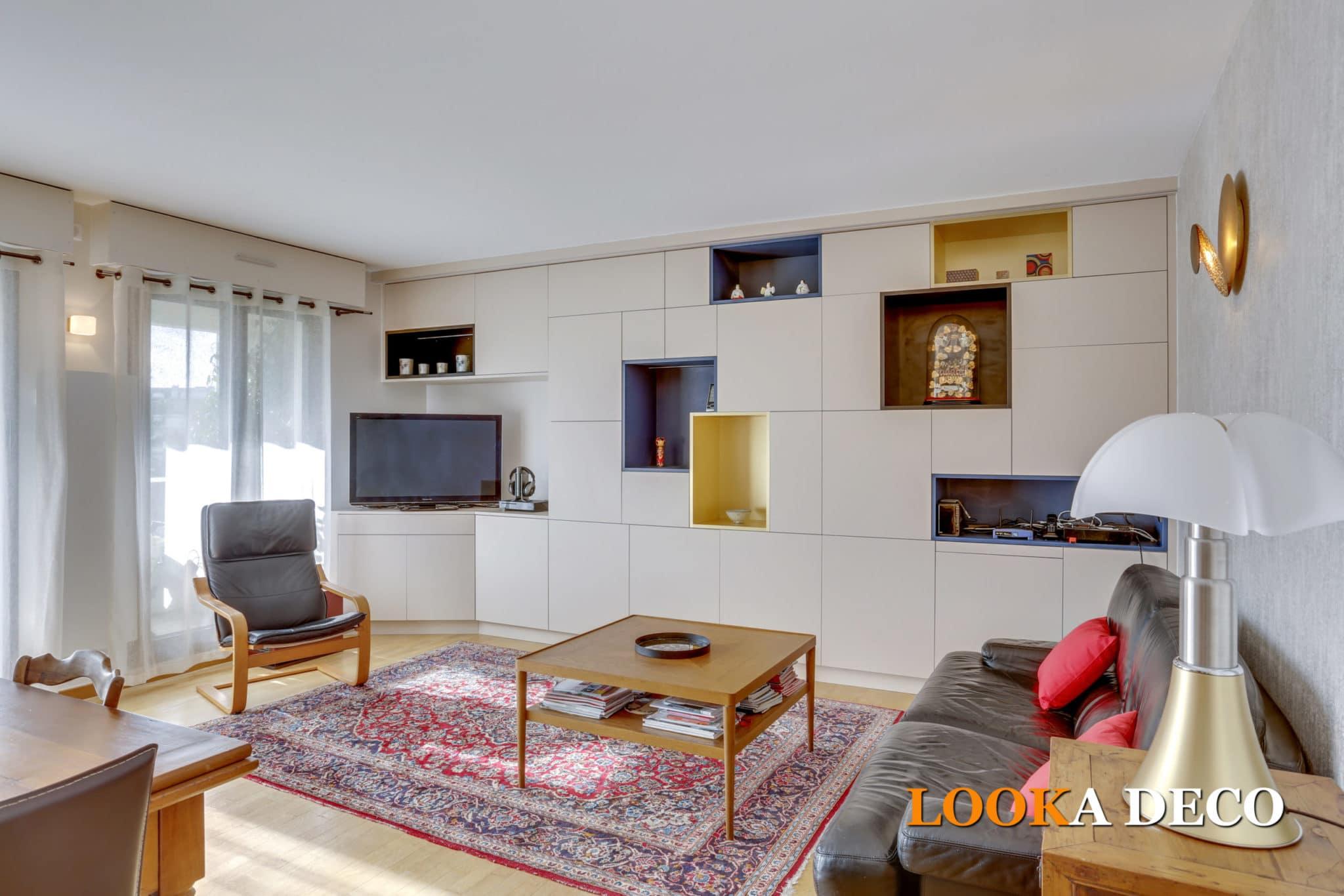 Comment optimiser du rangement dans un salon/séjour et créer une bibliothèque sur mesure – La Garenne-Colombes (Hauts-de-Seine)